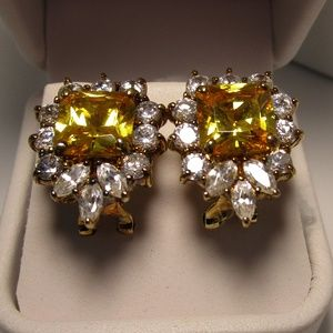 Vintage Citrine and CZ Gold Tone Earrings